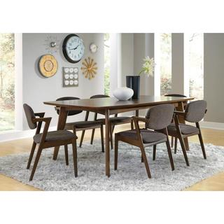 Ludweig Walnut Wood 7-piece Dining Set with Brown Fabric Upholstery