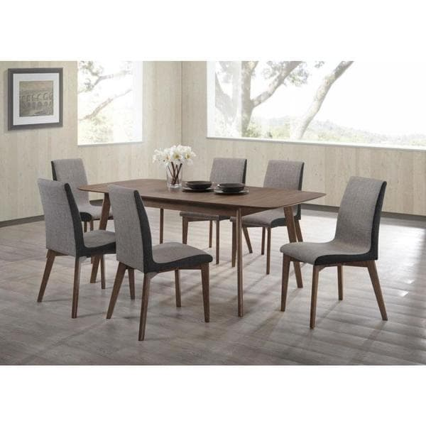 Marceil Walnut Wood 7-piece Dining Set with Grey Fabric Upholstery