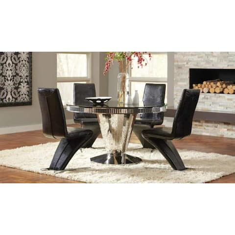 Hughes Black Wood, Faux-leather/Steel 5-piece Dining Set