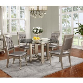 Royale Silvertone Wood 5-piece Round Table Dining Set