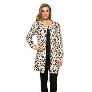 High Secret Women's Animal-Patterned Fluffy Thick Knit Crew Neck Cardigan