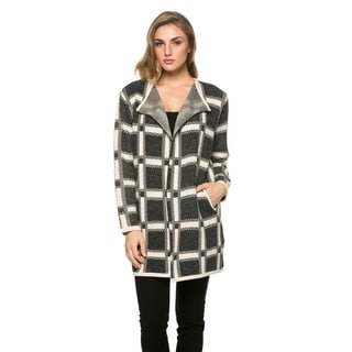 High Secret Women's Charcoal Plaid Thick Knit Draped Neck Open Front Cardigan