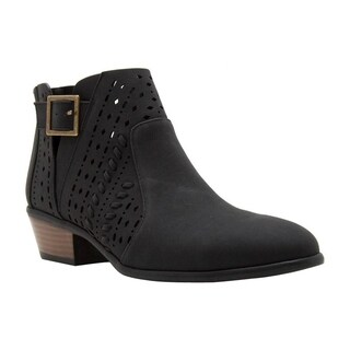 QUPID EL67 Women's Back Zipper Buckle Strap Block Heel Ankle Booties