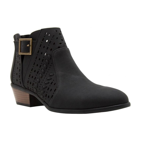 EL67 Women's Back Zipper Buckle Strap Block Stacked Heel Ankle Booties