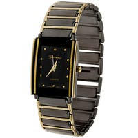 Geneva Platinum Black Dial Fashion Men's Watch