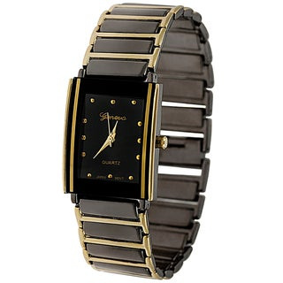 Geneva Platinum Black Dial Fashion Men's Watch