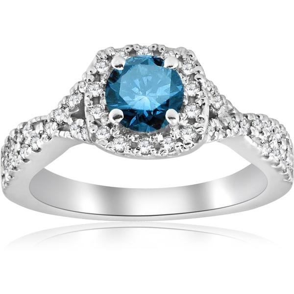Bliss 14k White Gold 1 Ct Tdw Blue Diamond Cushion Halo Engagement Ring