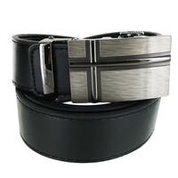 Faddism Men's Leather Business Casual Plate Buckle Belt Model AX-1