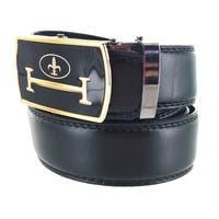 Men's Leather Dark Formal Plate Buckle Belt Meister