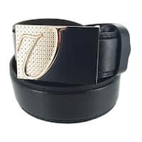 Men's Leather Dark Formal Plate Buckle Belt Meister Collection 122