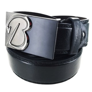 Faddism Men's Leather Plate Buckle Belt Initial B