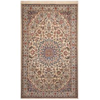 Handmade Herat Oriental Persian Hand-knotted Nain Wool and Silk Rug (4' x 6'5) - 4' x 6'5