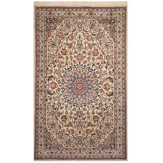 Handmade Herat Oriental Persian Hand-knotted Nain Wool and Silk Rug (4' x 6'5)
