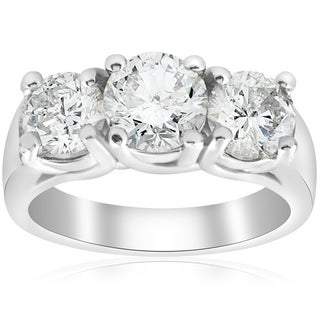 Bliss 14K White Gold 3 ct TDW Three Stone Diamond Clarity Enhanced Engagement Ring (Option: 4)
