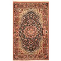 Handmade Herat Oriental Persian Hand-Knotted Qum Wool Rug (4' x 6'6)