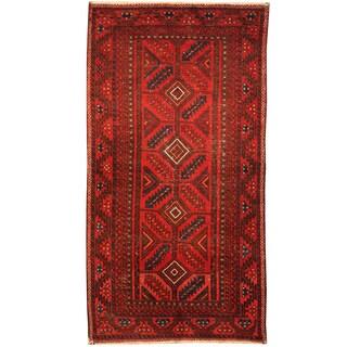 Handmade Herat Oriental Persian Hand-Knotted Antique Tribal Balouchi 1920's Wool Rug (3'4 x 6'3) - 3'4 x 6'3