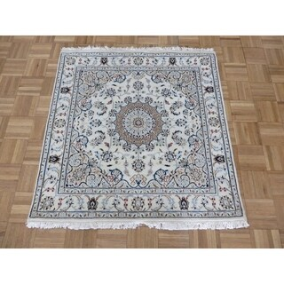 """Hand Knotted Ivory Nain with Wool & Silk Oriental Rug (3'7"""" x 3'9"""")"""