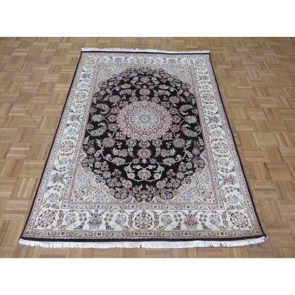 Persian Hand Knotted Nain Wool And Silk Area Rug Ebth: Shop Hand Knotted Navy Blue Nain With Wool & Silk Oriental