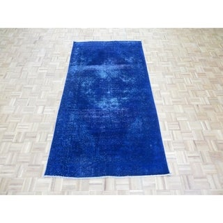 """Hand Knotted Blue Tabriz with Wool Oriental Rug - 4'9"""" x 9'9"""""""