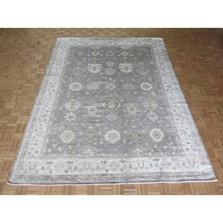 """Hand Knotted Silver Blue Bamboo Silk Oushak with Bamboo Silk Oriental Rug - 8'11"""" x 11'8"""""""