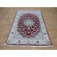 """Hand Knotted Red Nain with Wool & Silk Oriental Rug - 5'6"""" x 7'11"""""""