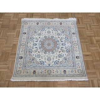 """Hand Knotted Ivory Nain with Wool & Silk Oriental Rug - 3'8"""" x 3'9"""""""