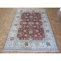 Hand Knotted Rust Brown Oushak with Wool Oriental Rug - 9' x 11'11""