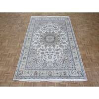 "Hand Knotted Ivory Nain with Wool & Silk Oriental Rug (6'6"" x 10')"