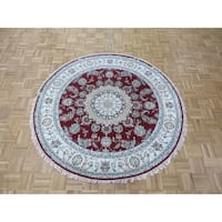 """Hand Knotted Red Nain with Wool & Silk Oriental Rug (5'11"""" x 5'11"""")"""