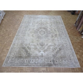 "Hand Knotted Light Gold Tabriz with Wool Oriental Rug (10'11"" x 15'9"")"