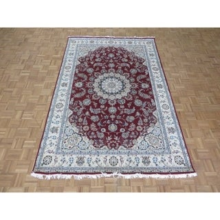 "Hand Knotted Red Nain with Wool & Silk Oriental Rug - 6'5"" x 9'9"""