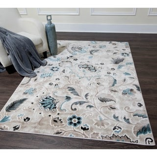 Home Dynamix Oxford Collection Beige Floral Area Rug