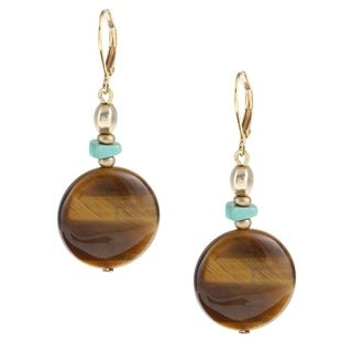 Goldtone Tiger's Eye and Turquoise Drop Earrings