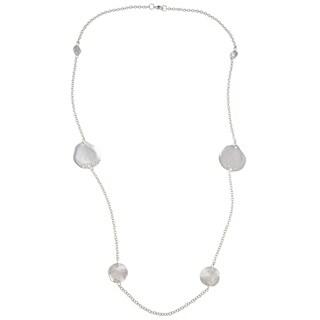Alexa Starr Silvertone White Rhinestone Long Hammered Station Necklace - Silver