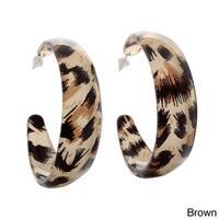 Animal Print Leopard Lucite Hoop Earrings