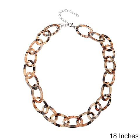Animal Print Lucite Mini Link Necklace