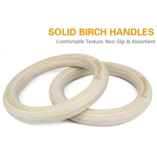 Wooden Gymnastic Rings Nylon Straps Fitness Rings Excersice Rings
