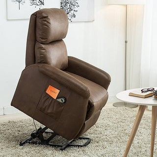 BONZY Lift Recliner Classic Power Lift Chair Soft and Warm Fabric with Remote Control for Gentle Motor - Chocolate