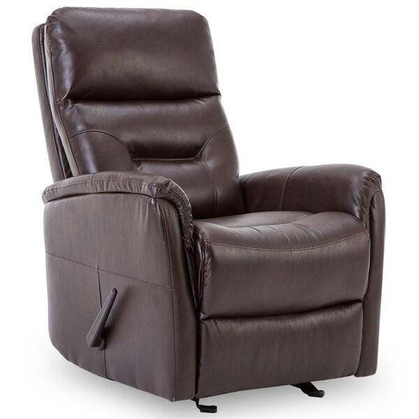 shop bonzy recliner chair overstuffed backrest brown leather chair