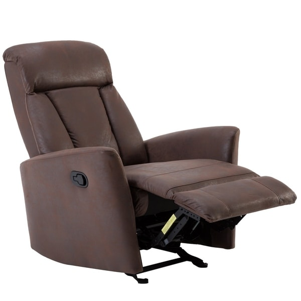 BONZY Glider Recliner Contemporary Chair With Super Comfy Gliding Track    Chocolate