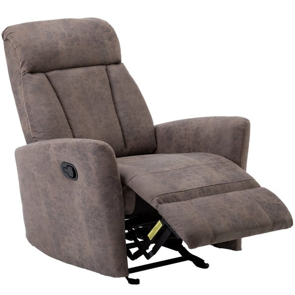 BONZY Glider Recliner Contemporary Chair With Super Comfy Gliding Track    Mocha