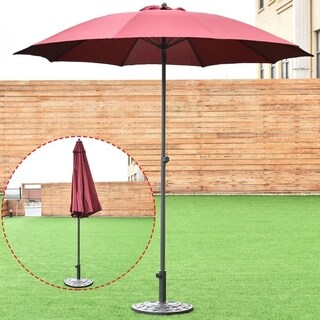 8.2Ft Height Adjustable Outdoor Patio Umbrella Market Sun Shade Beech