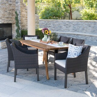 Vivian Outdoor 7-Piece Rectangle Wicker Wood Dining Set with Cushions by Christopher Knight Home