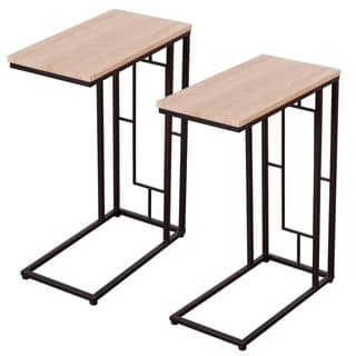 Natural Finish Coffee Tray/Laptop End Table (Set of 2)