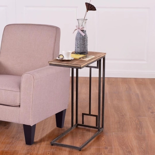 """Coffee Tray Sofa Side Table: Shop 26"""" Solid Wood Coffee Tray Side Sofa End Table"""