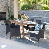 Saba Outdoor 7-Piece Rectangle Wicker Wood Dining Set with Cushions by Christopher Knight Home