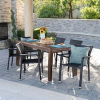 Newcastle Outdoor 7-Piece Rectangle Aluminum Wicker Wood Dining Set by Christopher Knight Home
