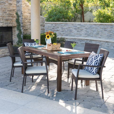 Geelong Outdoor 7-Piece Rectangle Aluminum Wicker Wood Dining Set with Cushions by Christopher Knight Home