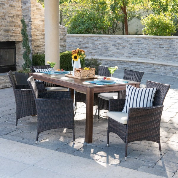 Lincoln 7-piece Wicker Wood Dining Set by Christopher Knight Home. Opens flyout.