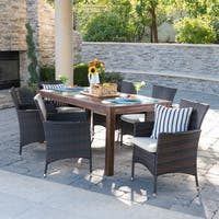 Lincoln Outdoor 7-Piece Rectangle Aluminum Wicker Wood Dining Set with Cushions by Christopher Knight Home
